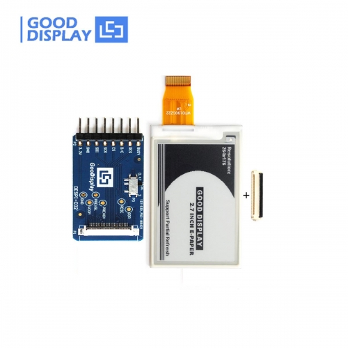 2.7 inch Black and white 4 Grayscale partial refresh eink display module with demo HAT connector board