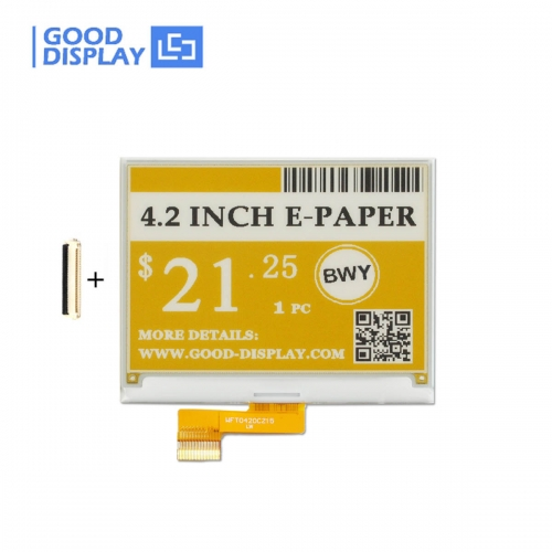 good display 4.2 inch black write and yellow EPD display e-paper screen module GDEW042C37
