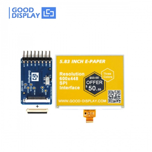 5.83 inch 3-color three colors yellow e-paper display eink screen module GDEW0583C64 with HAT connection board